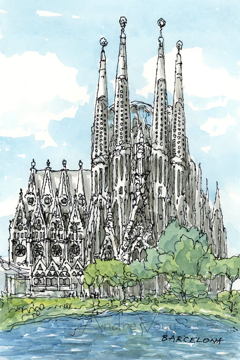 Barcelona Sagrada Familia art print from an original   Etsy in ...