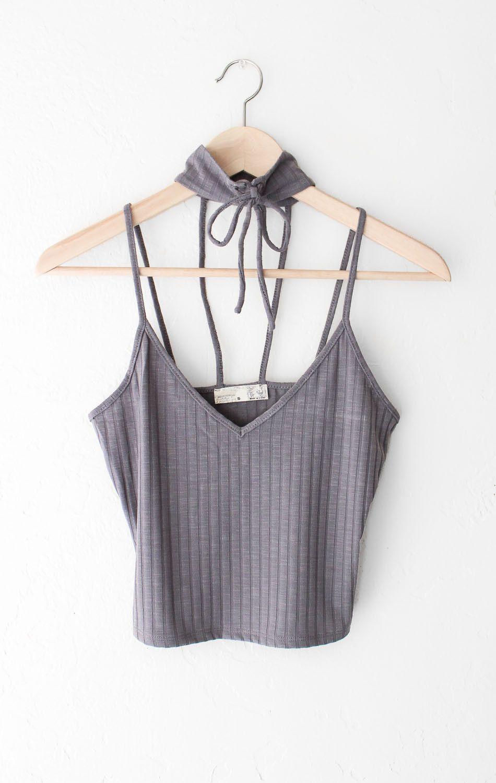 Knit Ribbed V-neck Choker Crop Top - Charcoal