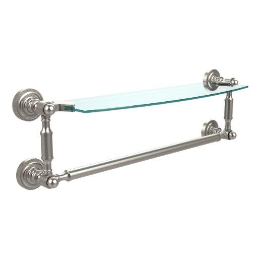 Allied Brass DT-33TB/18-SN Glass Shelf with Towel Bar, 18-Inch x 5 ...