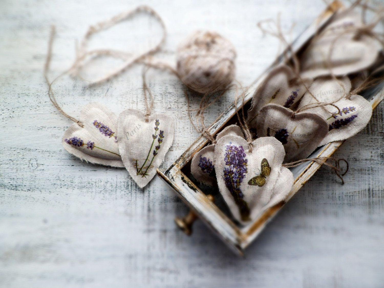Lavender heart sachets wedding favors decor Valentines day decor ...
