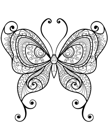 Zentangle Butterfly Coloring Page Butterfly Coloring Page