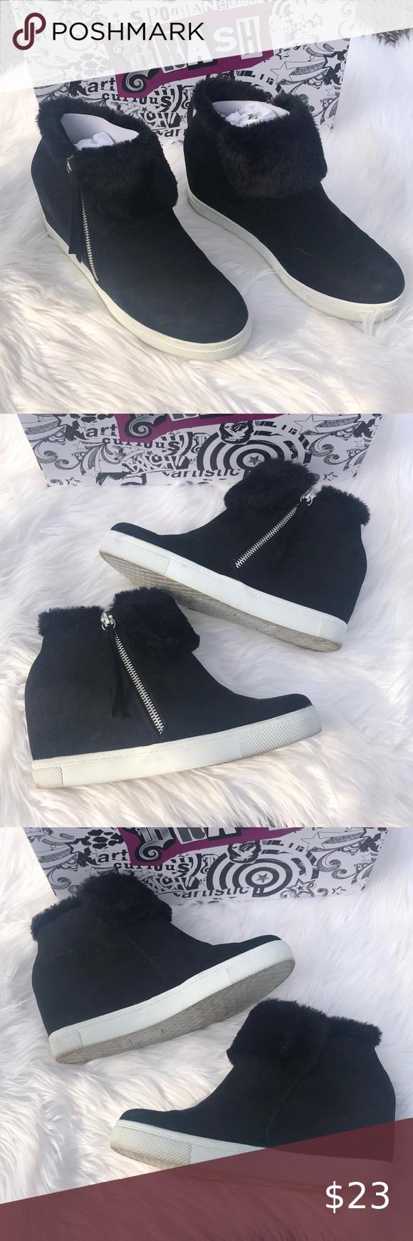 "🔨Brash   Black Fur ""Cece"" Wedge Sneaker"