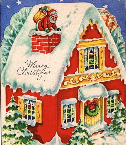 """Santa has climbed into the chimney in this vintage """"Merry Christmas"""" greeting card. An Art Guild of Williamsburg Card."""