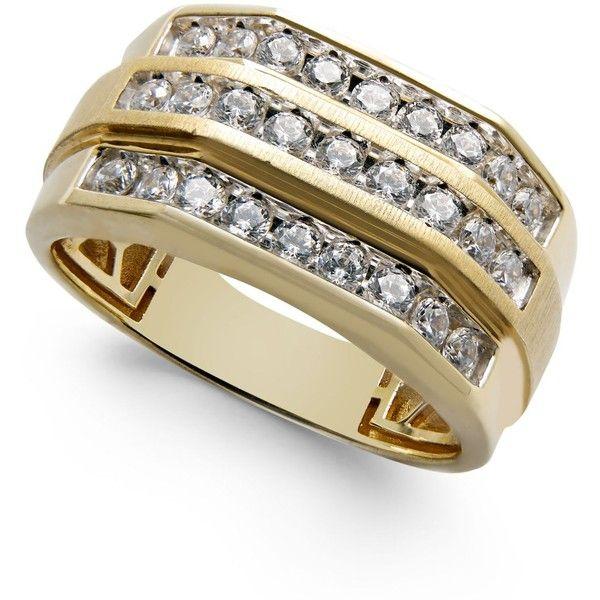 Men S Diamond Three Row Ring 1 Ct T W In 10k Gold 2 800 Liked On Polyvore Featu Black Diamond Wedding Rings Mens Gold Diamond Rings Cool Rings For Men