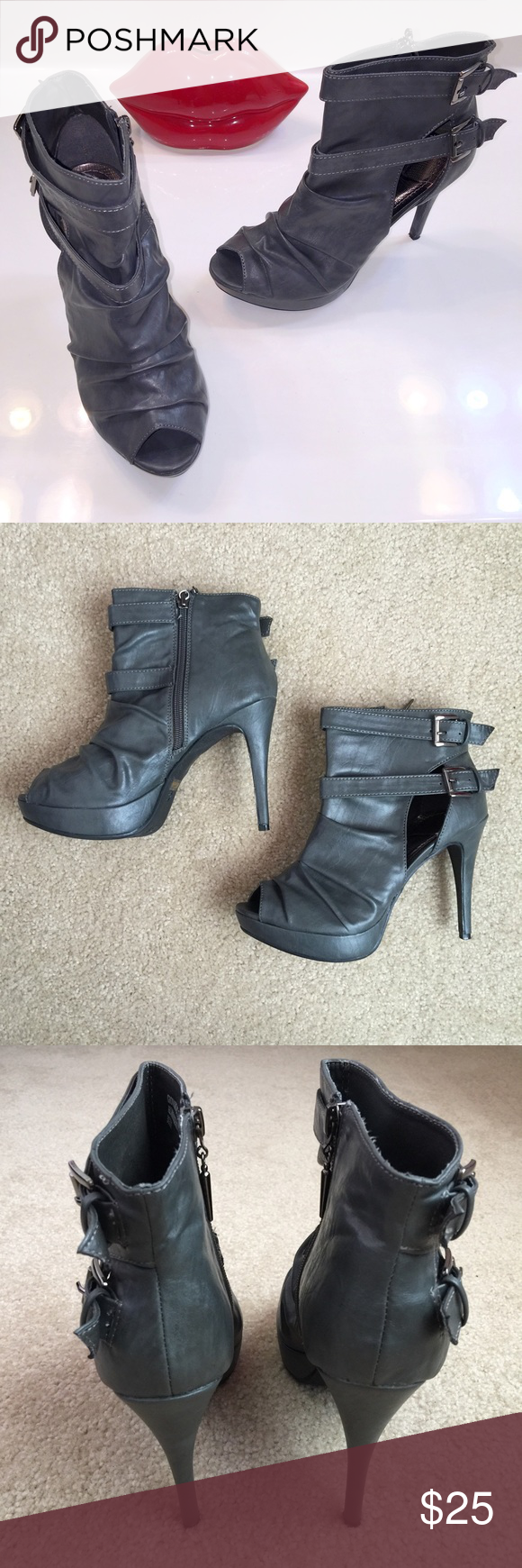 "Anne Michelle • Gray Faux Leather Heel Boots 👠Stylish gray faux leather heels with zipper, buckle straps and peeped toes! Shoes have a 1"" inch platform and 4-1/4"" inch heel! 💥Gently worn for a couple hours, almost new... in box!💥 Minor dark mark from storage on right shoe (see last photo). Otherwise, in excellent condition! Original box included. Anne Michelle Shoes Ankle Boots & Booties"