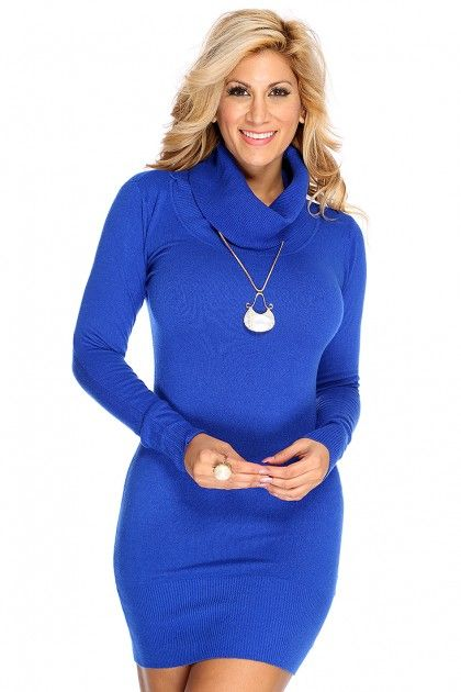 Royal Blue Turtle Neck Sweater Dress | Royal blue, Turtle and Royals
