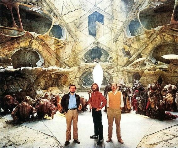 Jim Henson & Frank Oz getting ready to film The Dark Crystal