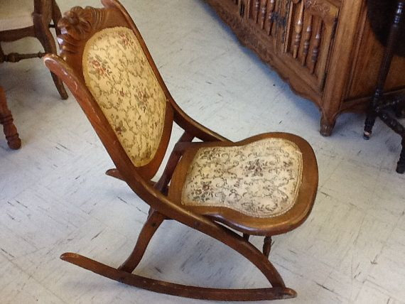 Vintage Victorian Wood Folding Rocking Chair By