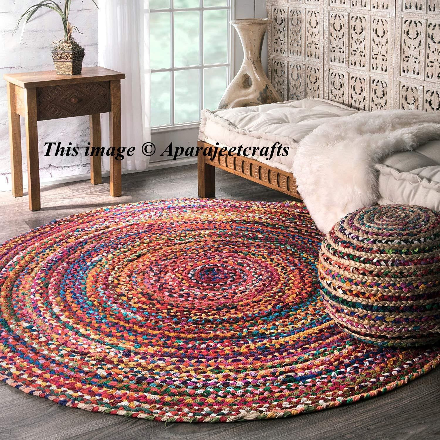 Indian Handmade Cotton Round Purely Yoga Mediation Rugs Braided