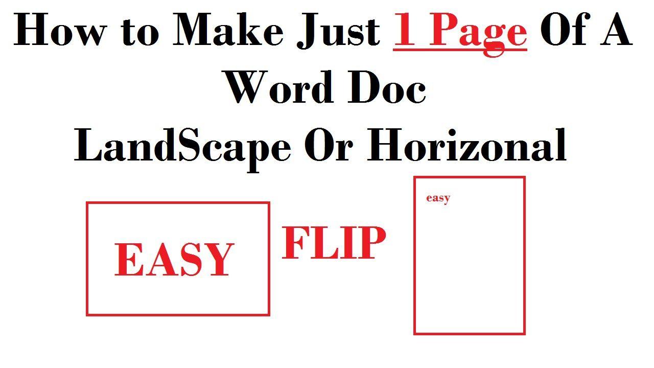 Horizonal Landscape Single 1 Page Word Document Windows 7 8 10 X Words Windows Word Word Doc