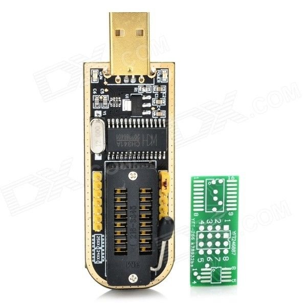 CH341A USB Programmer w/ LED Indicator - Black + Golden + Multi-Color. Color Black + Golden + Multi-Colored Mod