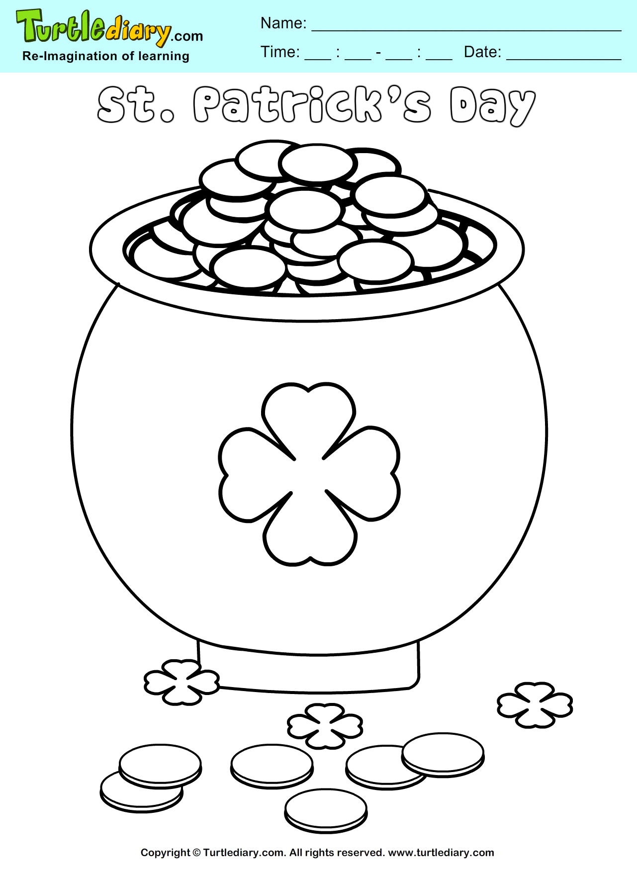 Pot Of Gold St Patrick S Day Coloring Page