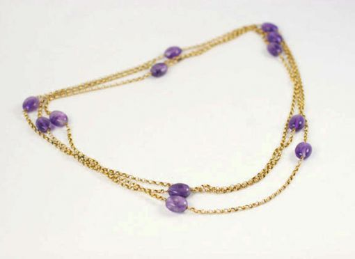 VINTAGE VICTORIAN GOLD AND AMETHYST CHAIN