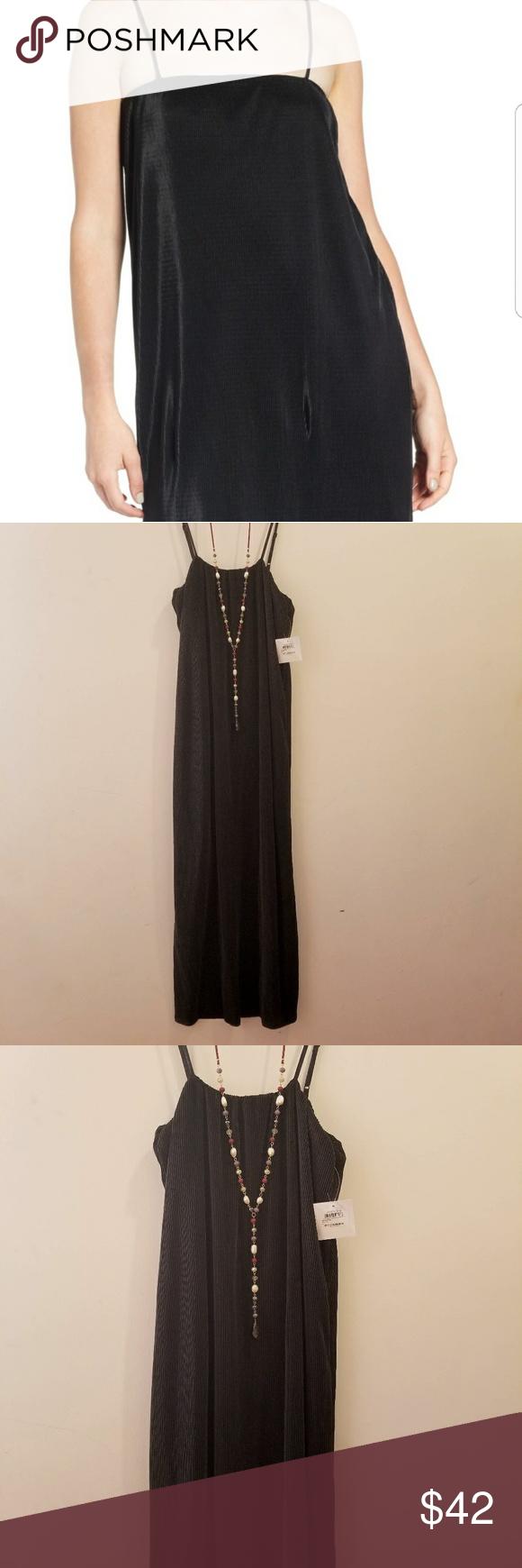 32f9716d1d BP Black Ribbed Midi Slip Dress Gorgeous lined black ribbed midi dress.  Perfect for a