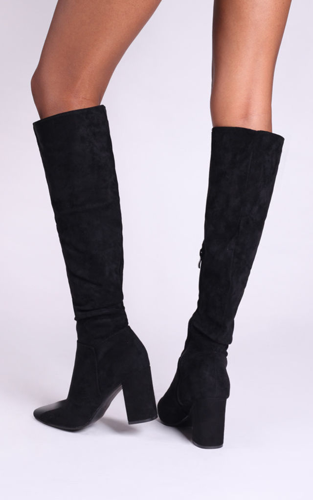 Bonnie Knee High Ruched Boots In Black