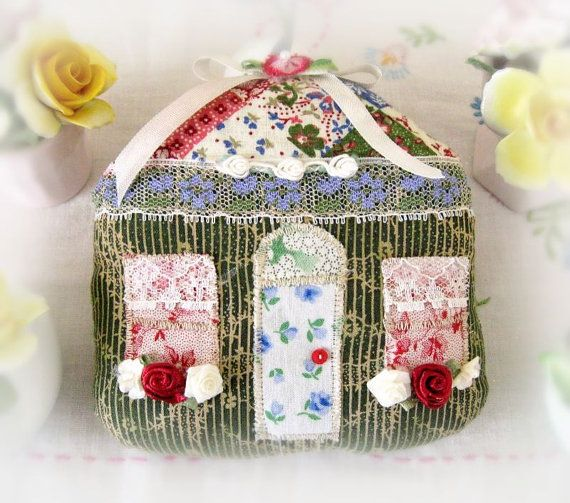 Cottage Ornament House Door Hanger Green Tan by CharlotteStyle