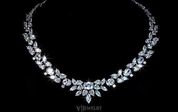 86ebd56ac1 Cubic Zirconia Wedding Necklace - Crystal Necklace - Bridal Necklace -  Choker Wedding Necklace - Wedding Statement Necklace - AN0027