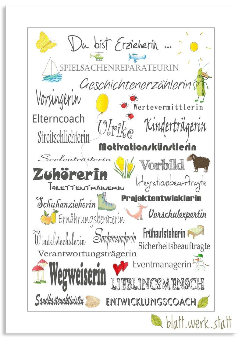 From 19,50 Euro: Thank you picture A4, educator, kindergarten teacher, day mother, customizable, customizable, printed
