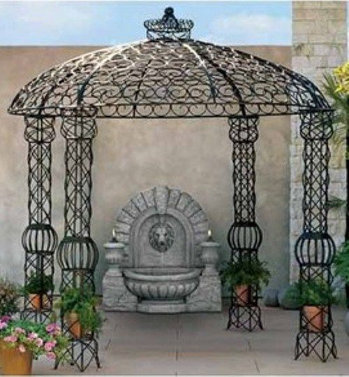 Gorgeous Wooden Gazebo And Metal Designs Ideas Appealing Wrought Iron Round Victorian With Decorative Roof Top Wegli