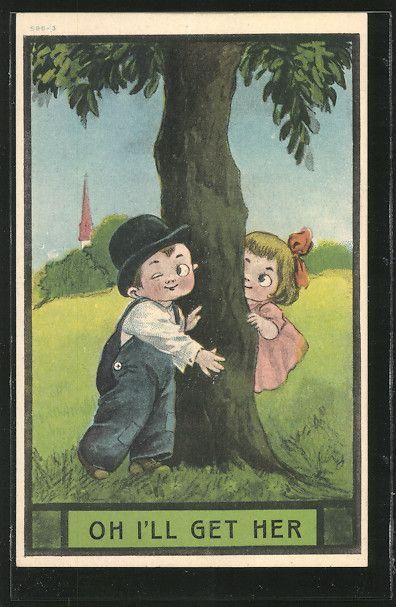 old postcard: AK Junge sucht beim Versteckspiel seine kleine Freundin