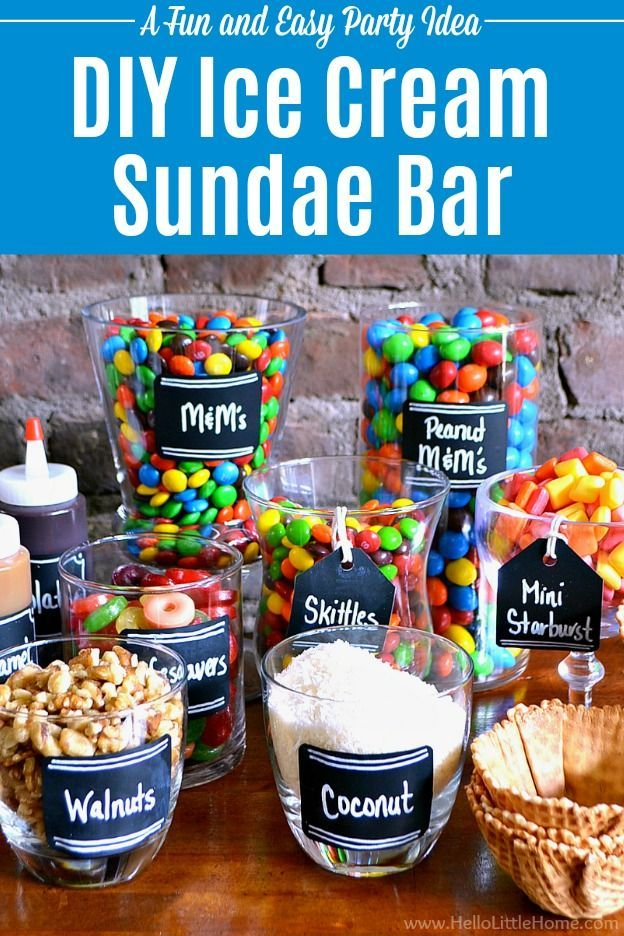 to Set Up a DIY Ice Cream Sundae Bar Candy-Covered DIY Ice Cream Sundae Bar ... an easy way to create summer time fun! Learn how to set up a sundae bar, including ideas for sundae toppings, decorations, and display. A fun + easy party idea for weddings, birthdays, baby showers, graduations, and other