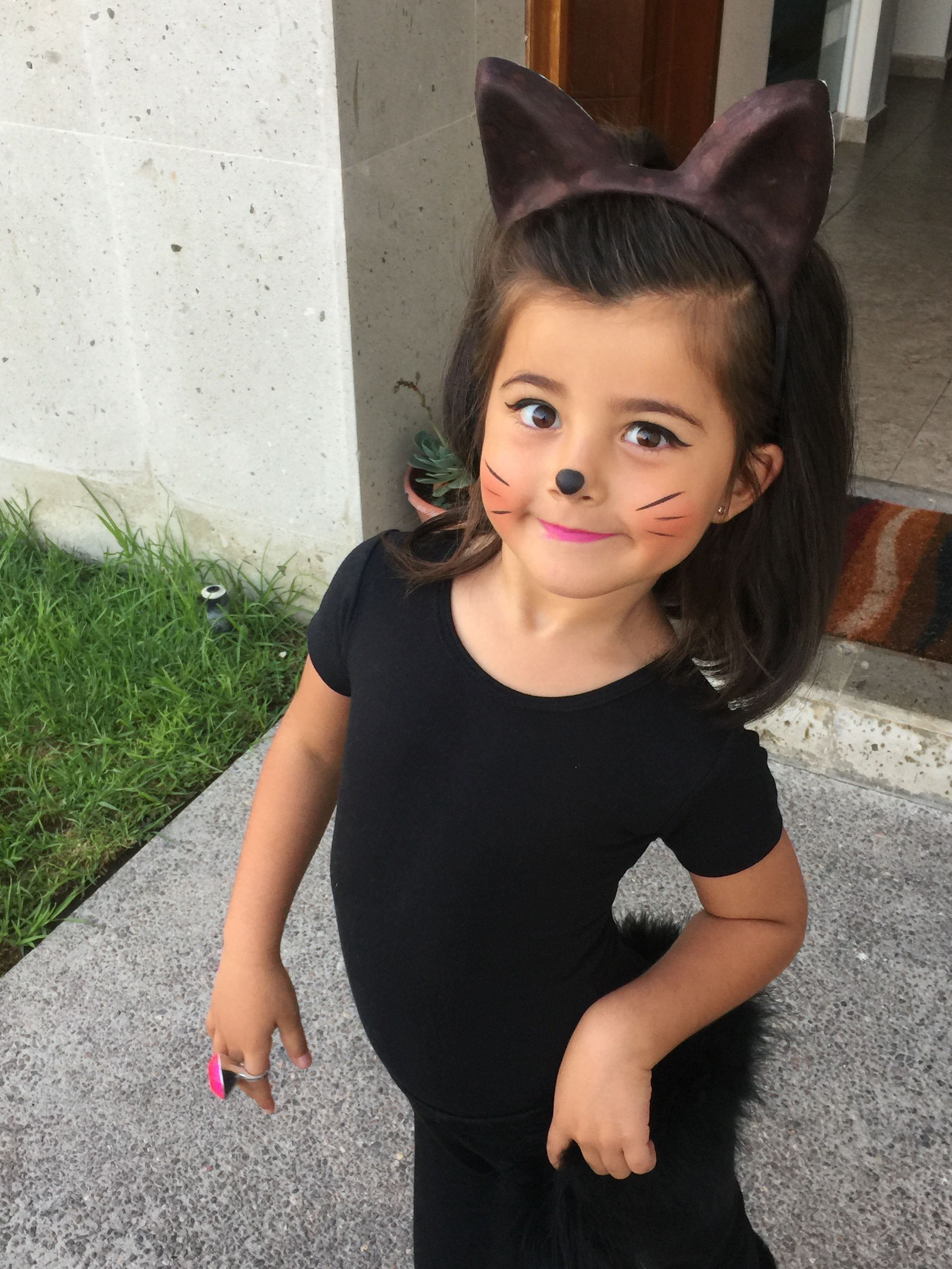 Diy costume catgirl little girl toddler cat makeup (With
