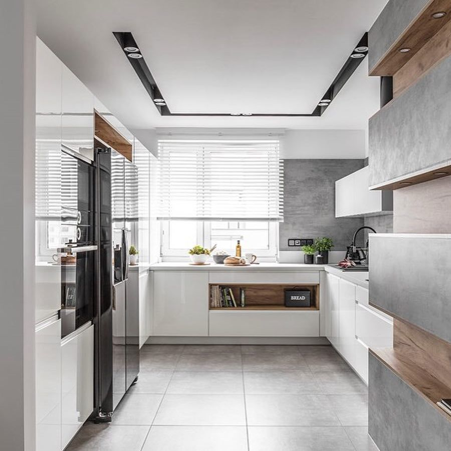 Wszystko Dla Domu On Instagram Biala Lakierowana Kuchnia Polaczona Z Betonem Oraz Drewnem Zdjecia Krz Kitchen Decor Kitchen Design Home Goods Decor