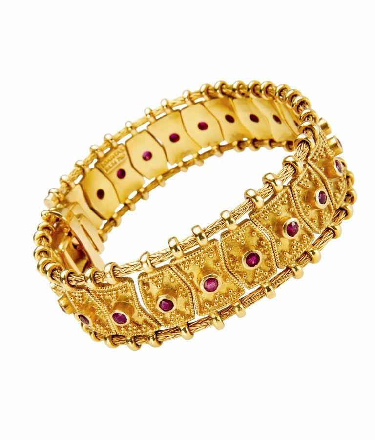 Bracelet De Zolotas En Or Serti De Rubis 1950 Bijoux Vintage Idees De Bijoux Bijoux D Epoque