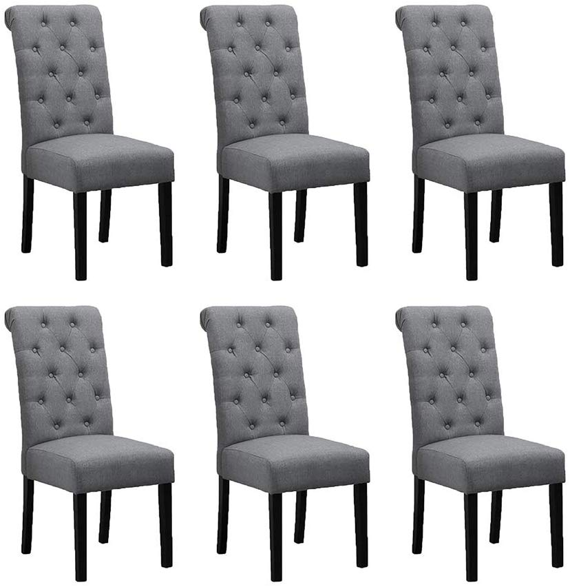 Boju 6 Comfortable Dining Room Chairs Armless Only Set Of 6 Grey Fabric Upholstered High Fabric Dining Chairs Grey Dining Chairs Fabric High Back Dining Chairs Kitchen chairs set of 6