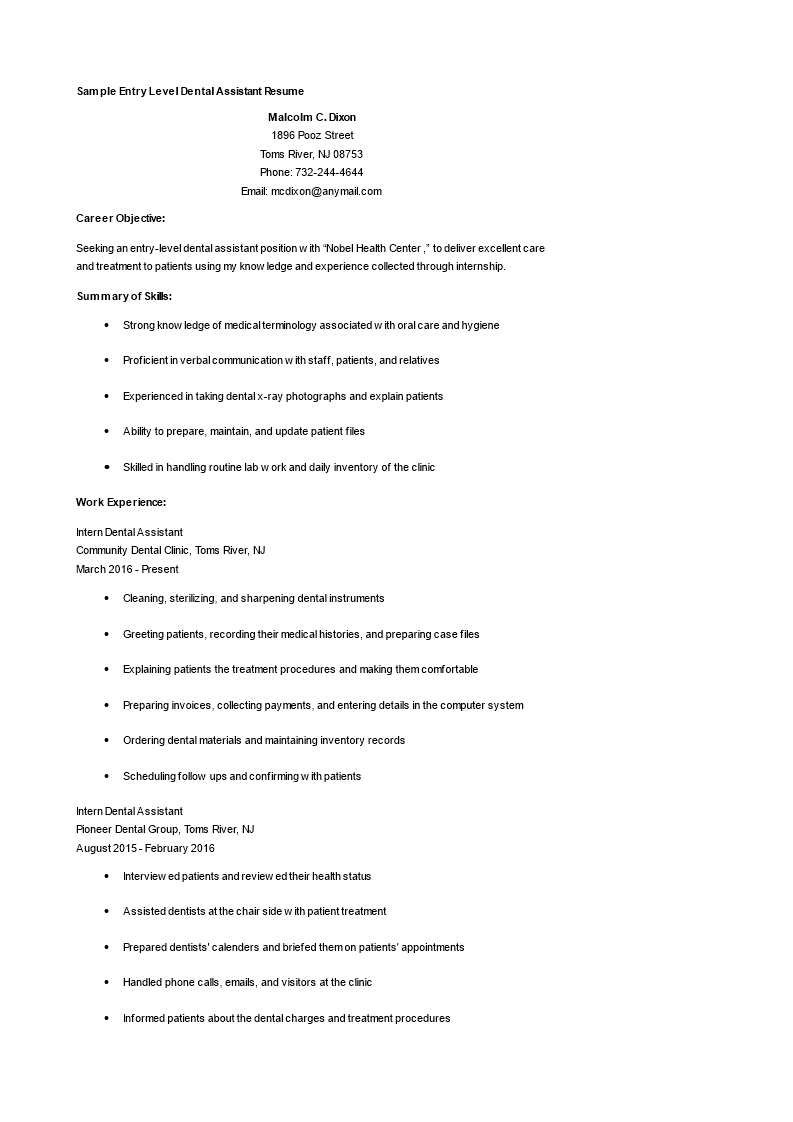 Entry Level Dental Assistant Resume How to draft an