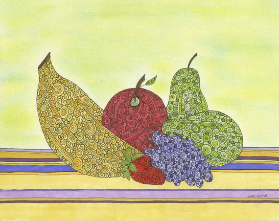 Happy Fruit Art Print Wall Art Kitchen Art by ValerieLorimer