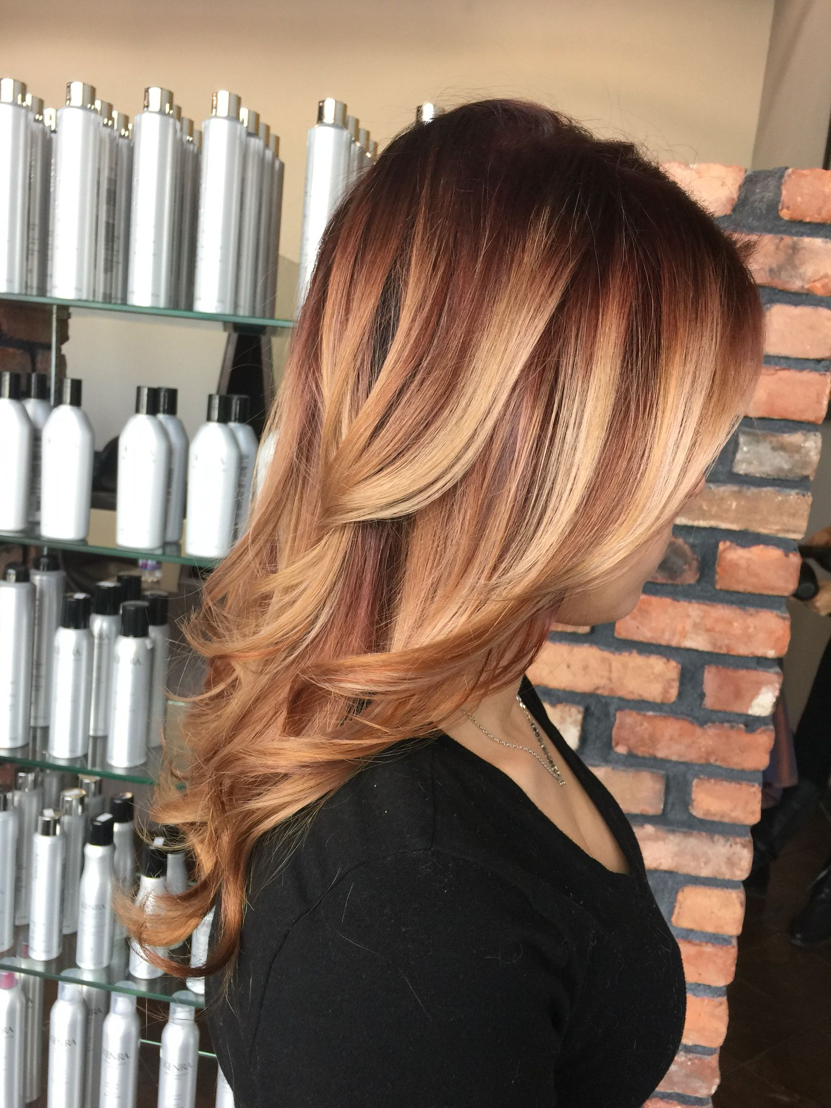 Red And Blonde Balayage By Hairbyangelaalberici Long Islandny