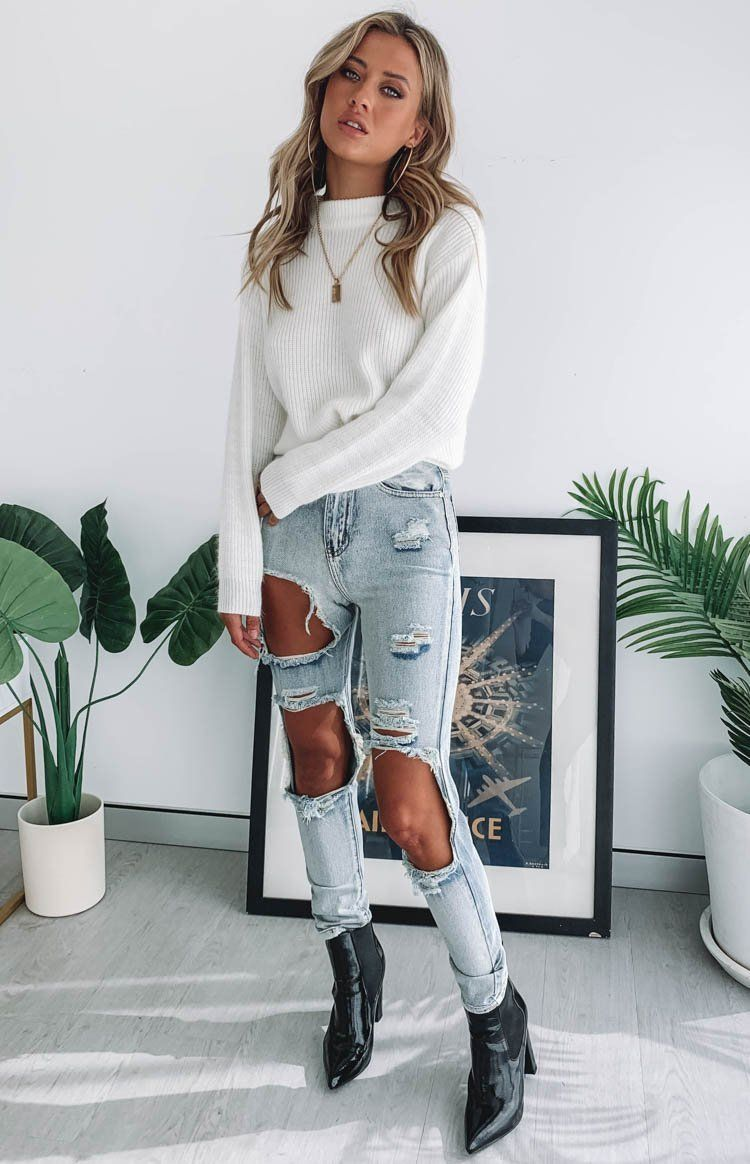 Zane Ripped Jeans Blue - 12 -   fitness Outfits cute