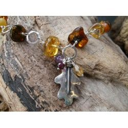 Handmade silver and Amber Oak Leaf necklace