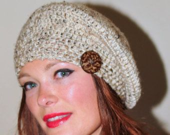 Slouchy Hat Women Slouchy Beanie Women Cable Button Hat Winter Hat