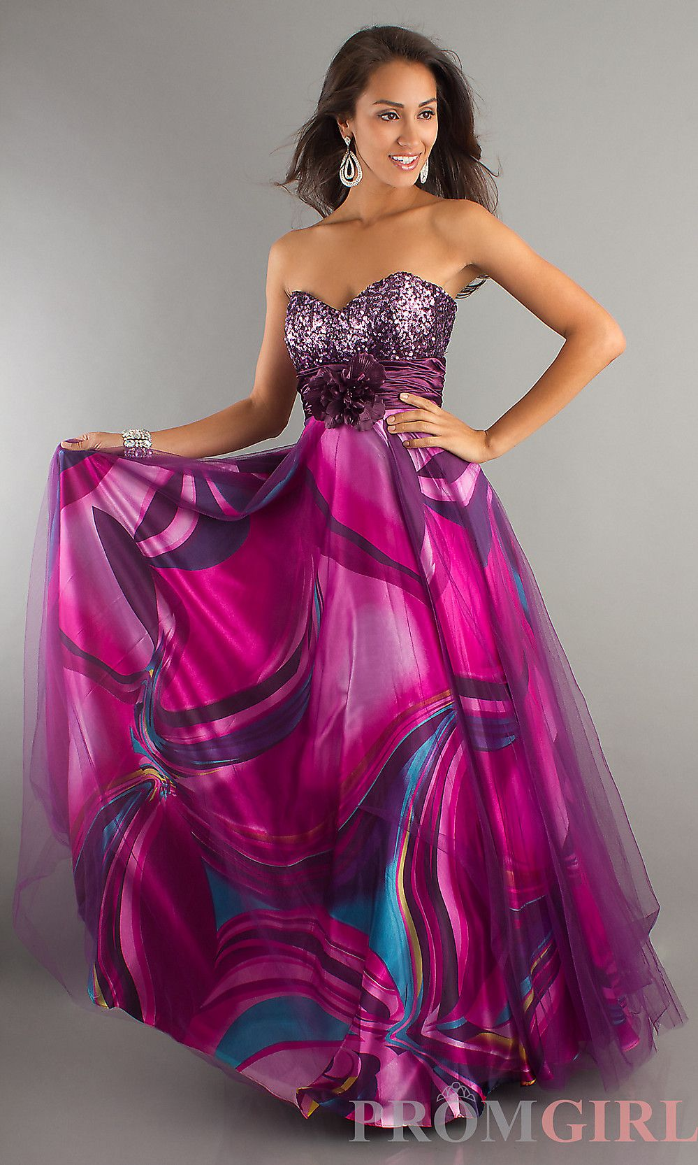 Strapless Print Dress, Print Evening Gowns for Prom- PromGirl ...