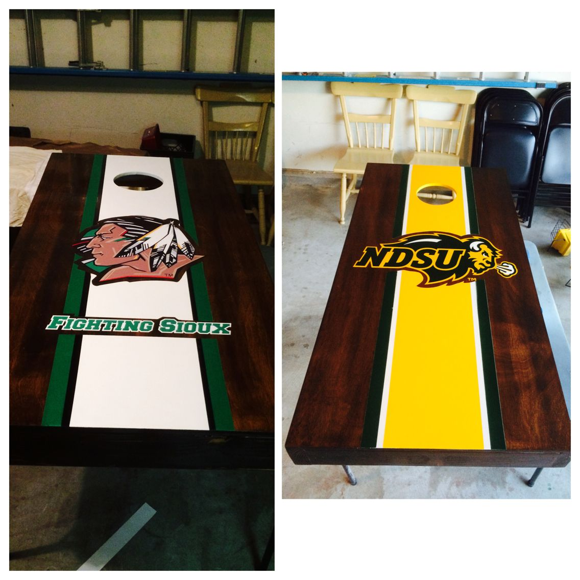 NDSU Bison and UND Fighting Sioux corn hole boards