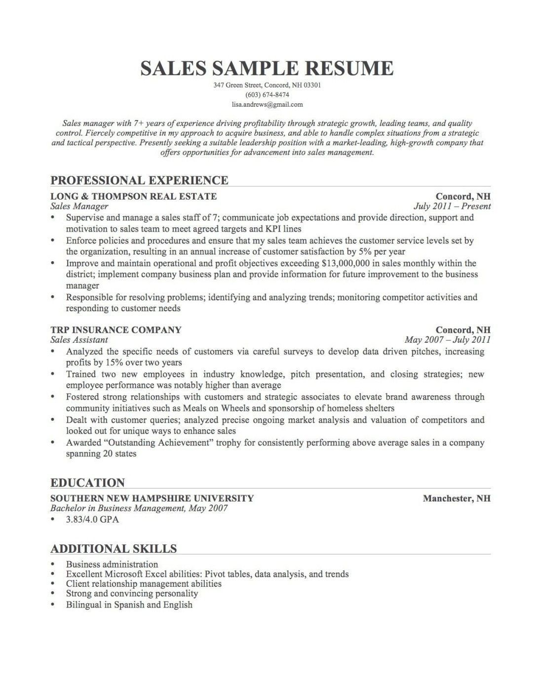 resume examples describe yourself  with images