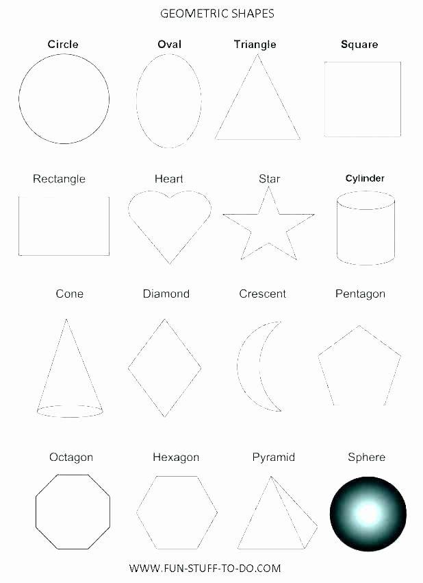 Solid Shapes Worksheets for Kindergarten Geometric Shapes