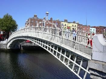 Ha'penny bridge. Reese and I put a lock on the center light post. Visited, Summer 2012.
