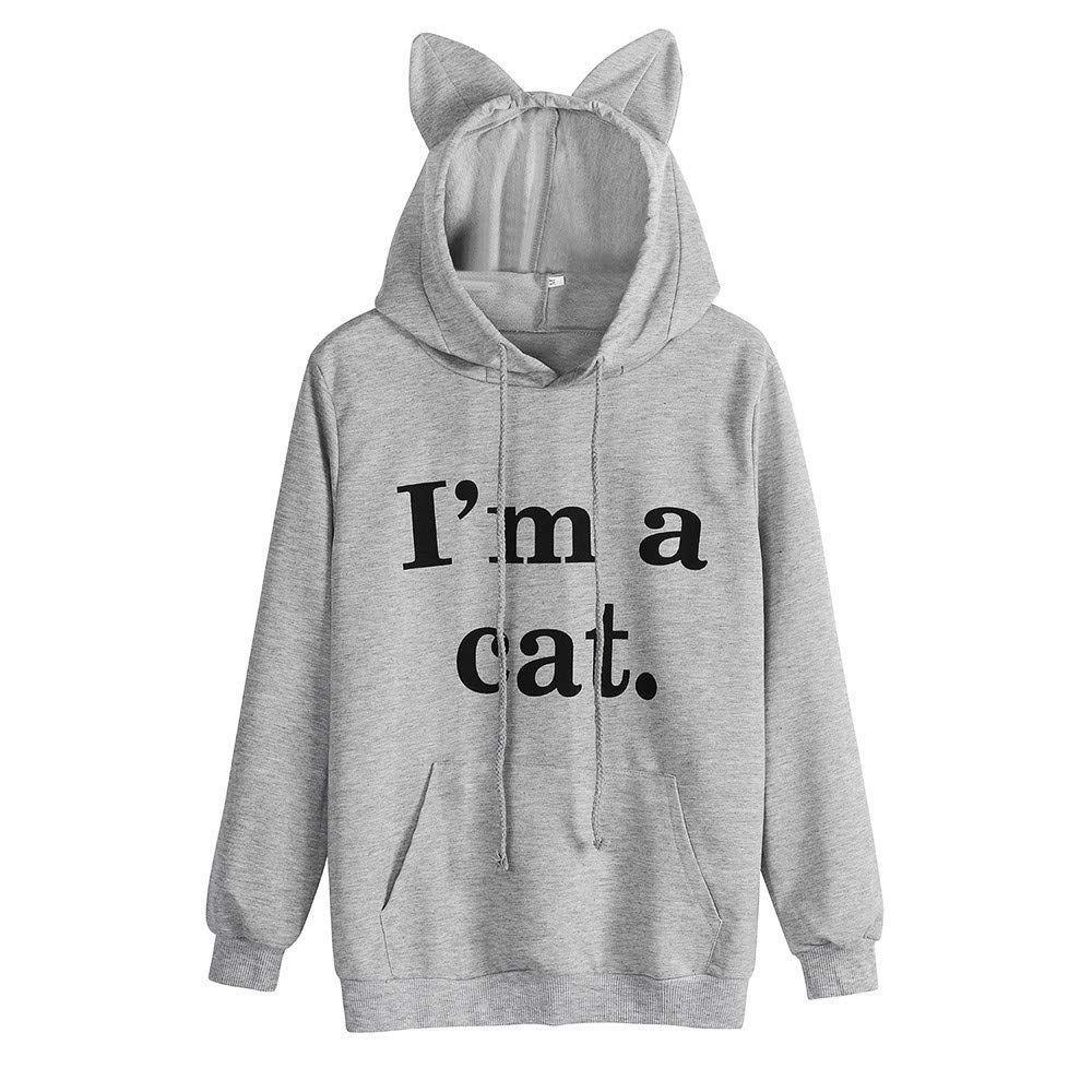 Lustiger Damen Hoodie mit Katzenohren an der Kaputze in Grau