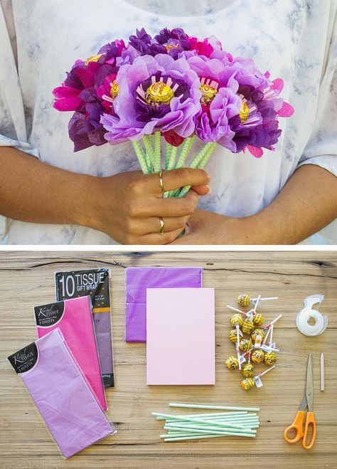 Diy valentines day ideas a bouquet of flowers made out of tissue diy valentines day ideas a bouquet of flowers made out of tissue paper and lollipops mightylinksfo