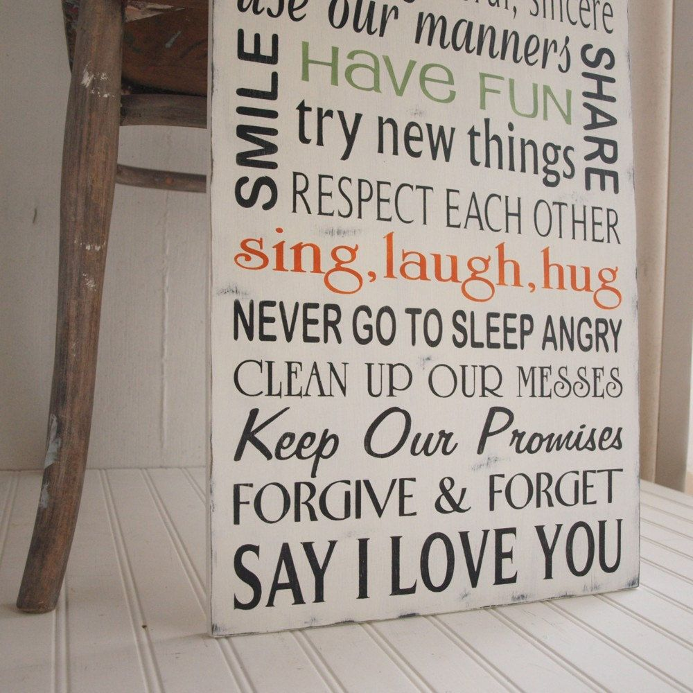 Family Rules Wood Sign In Our House We Choose Happiness