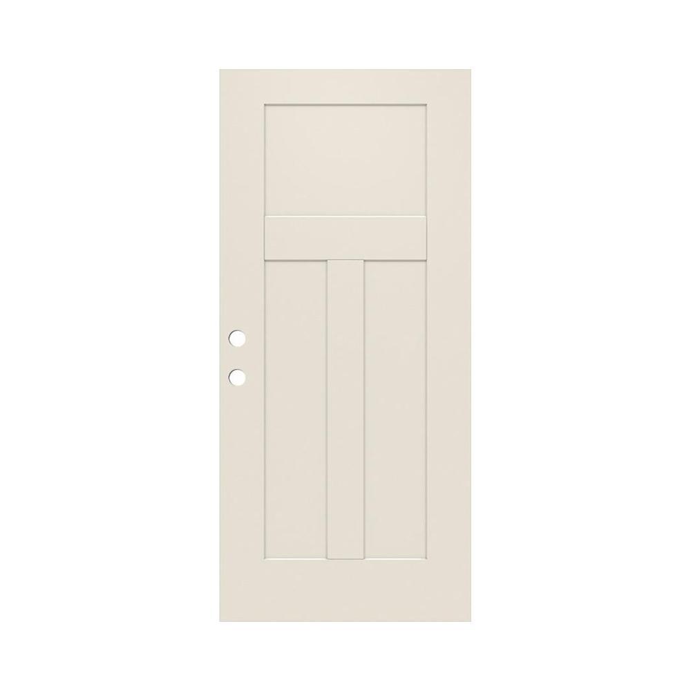 Jeld Wen 32 In X 79 In 3 Panel Craftsman Primed Steel Front Door Slab Thdjw166100391 The Home Depot Steel Front Door Steel Doors Exterior Door Design Interior