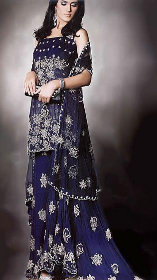 c3186cb021 BW6785 Dark Sapphire Sharara Traditional Middle Eastern Dress For Women  Bridal Wear