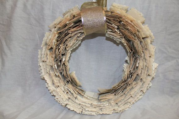 Upcycled Book Pages Wreath by LaVBoheme on Etsy, $45.00