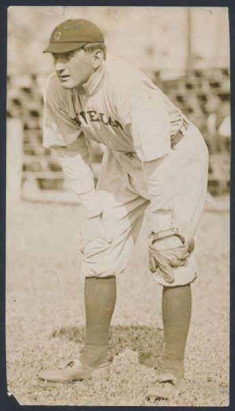 """A previously unknown image of Shoeless Joe Jackson recently auctioned. The 5"""" x 8 ¾"""" news photograph shows Jackson, playing for the Cleveland Naps in 1912, just his second full season in the big leagues."""