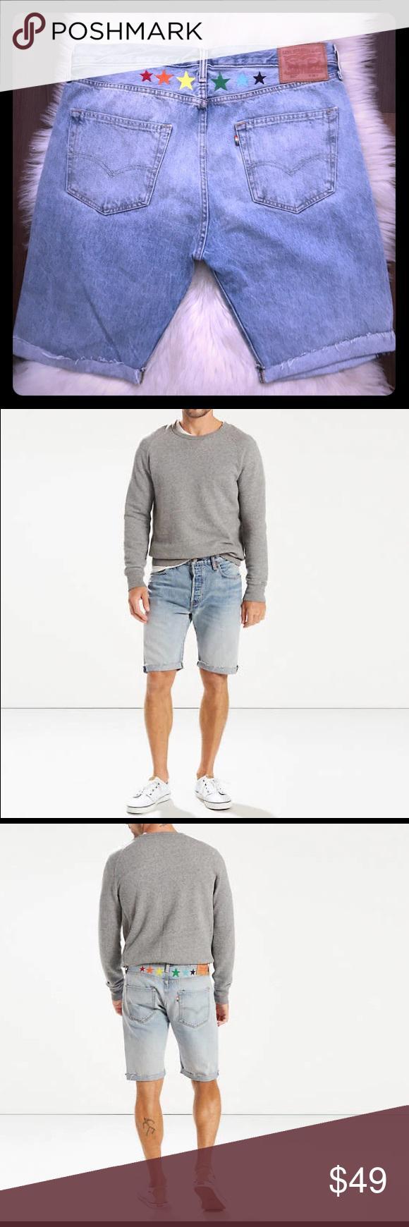 5972582cb96e Levi s 501 Original Cut Off Shorts 🌈 Pride Ltd Ed Limited edition Levi s  501 original fit cut off shorts for 2018 pride 🌈👖 Rainbow stars on the  back