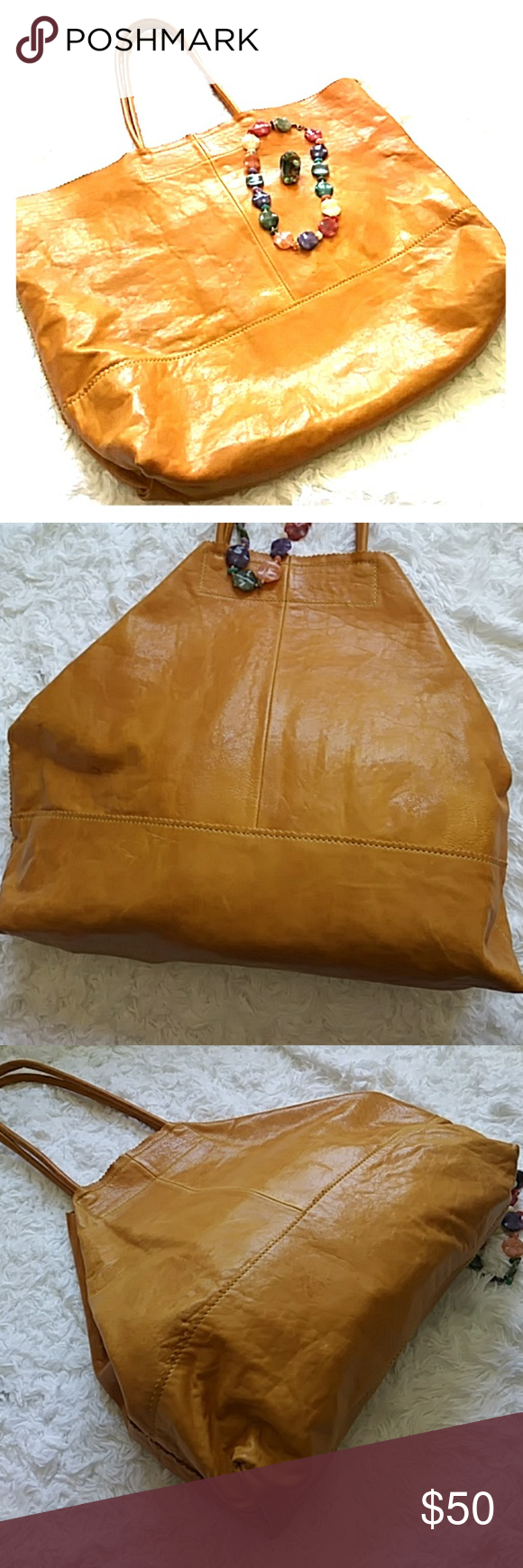 Banana Republic yellow leather purse Beautiful mustard yellow extra large leather tote in good condition Banana Republic Bags Totes