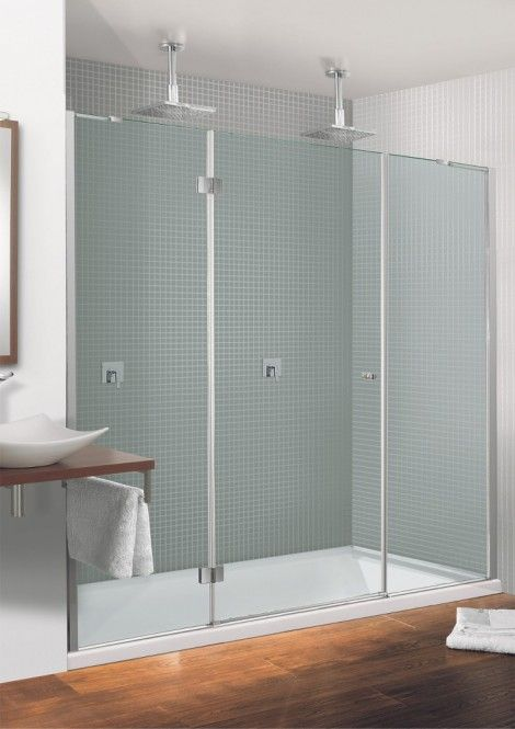 Design Semi Frameless Hinged Door Inward Opening With 2 Inline Panels In Showering Simpsons Shower Enclosure Products